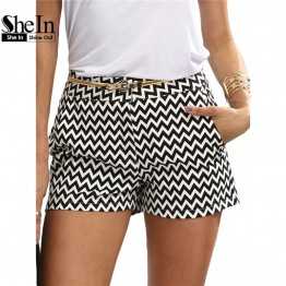 Chic Mid Waist Black And White Cotton Straight Shorts