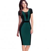 Elegant Color Contrast Business Casual Dress