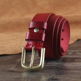 Top Quality Genuine Leather Women Belt Solid Brass Pin Buckle Red Belt