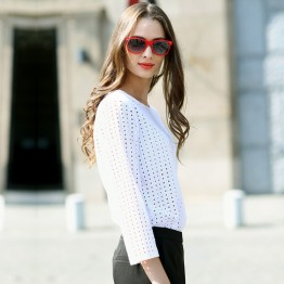 Chic Hollow Out White Long Sleeve Shirt