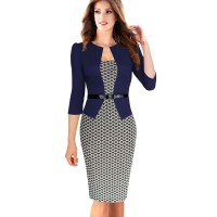 Elegant Faux Jacket One-Piece Belted Tartan Lace Business Dress