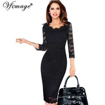 Elegant Lace 3/4 Sleeve Pencil Sheath Dress - 32751706585
