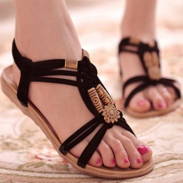 Fashionable Beaded Flat Sandals