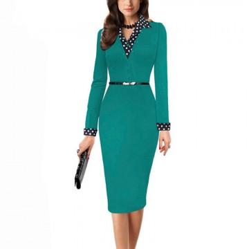 Stylish Patchwork Long Sleeve V-Neck Dress - 32692601569