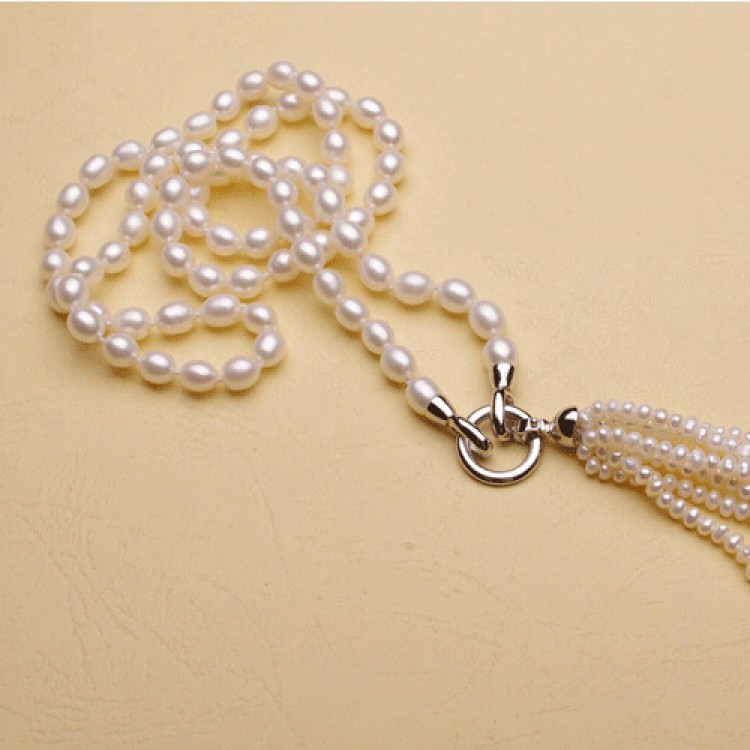 New Long Multilayer Pearl Necklace Freshwater Pearl TasselsAccessories NJ04