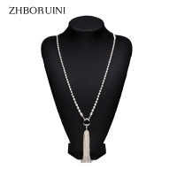Long Multilayer Pearl Necklace Freshwater Pearl Tassels