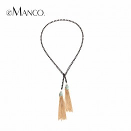 Black Crystal Alloy Chain Jewelry Pendant