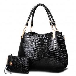 Attractive Crocodile Print Handbag+Wallet  2bags/set