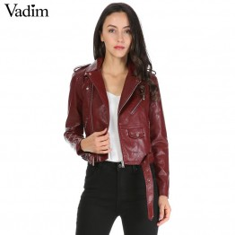 Color faux  leather short motorcycle jacket zipper pockets sexy punk coat